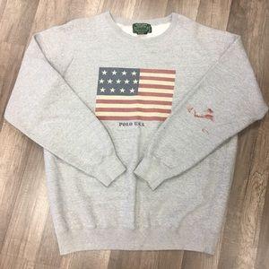 Polo Country USA Flag Crewneck Sweater